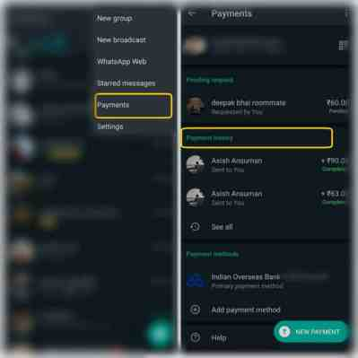 keep track of all the whatsApp payments