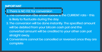 Dash coin Conversion Fee