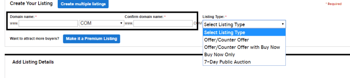 Listing A dDomain in GoDaddy Auction