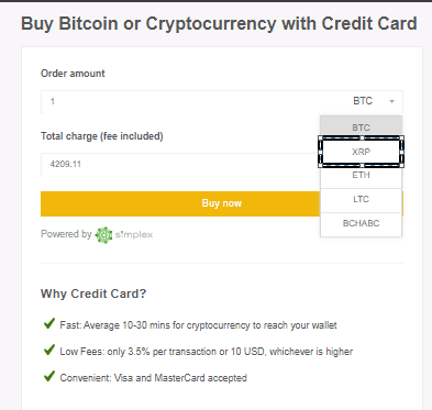 Buy Ripple XRP by Card