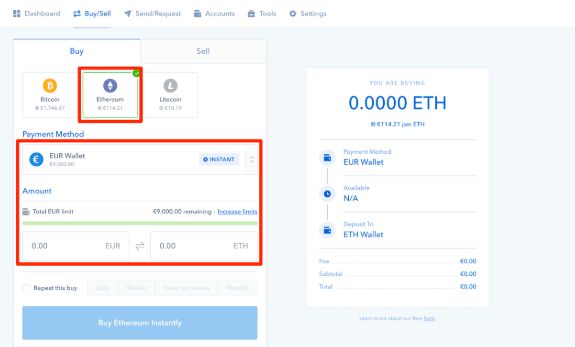 Buy Ethereum in CoinBase