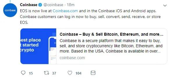 EOS listing on CoinBase