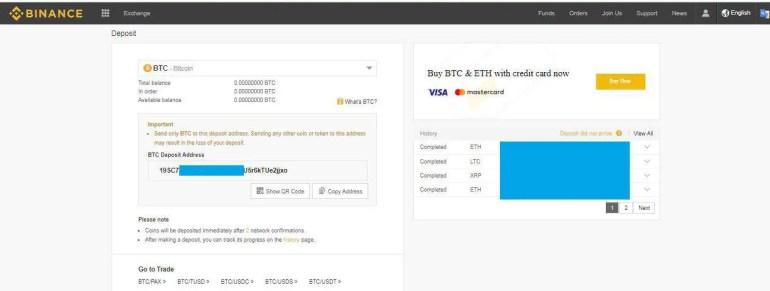 Bitcoin Deposit Address from Binance