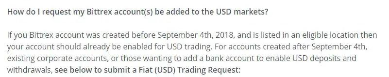 Bittrex USD trade request