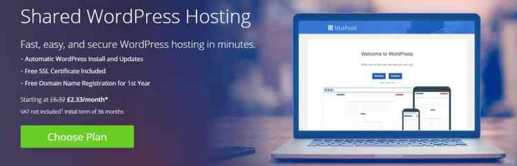 Bluehost Shared WordPress Hosting plan