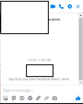 Facebook Chat Window for sending private message