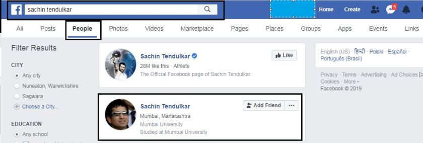 Search Friend name in Facebook