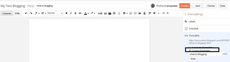 Custom URL in blogger