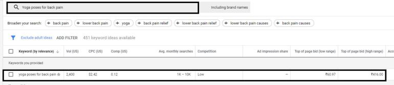 Long tail keyword research using google keyword planner