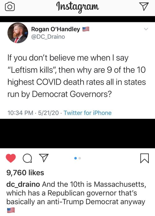 The highest COVID19 deaths are in states run by Democrat governors. ​