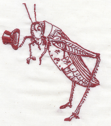 Bascom Hogue - Grasshopper - Hand Embroidery