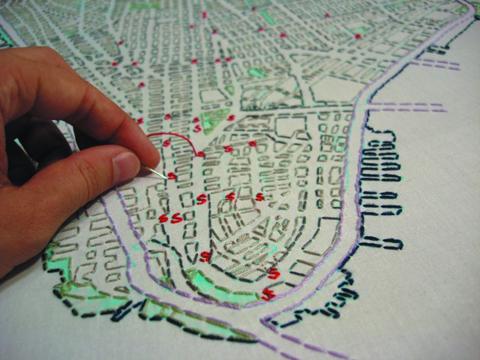 Liz Kueneke Manhattan embroidered social history map
