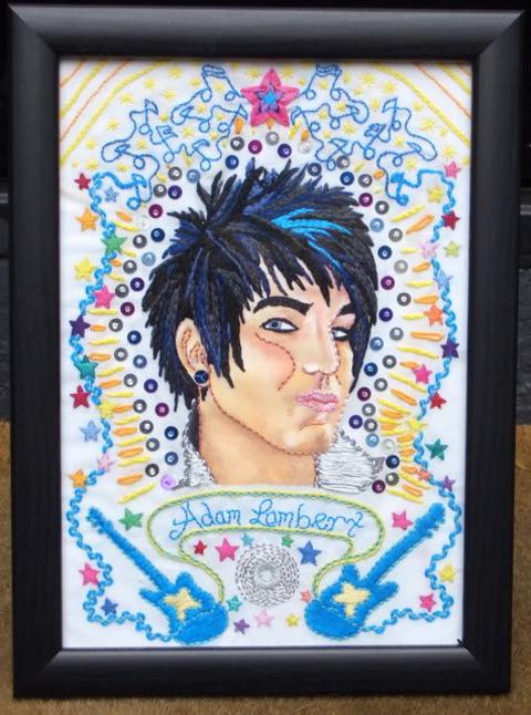 Sophieangele's superb Adam Lambert embroidery