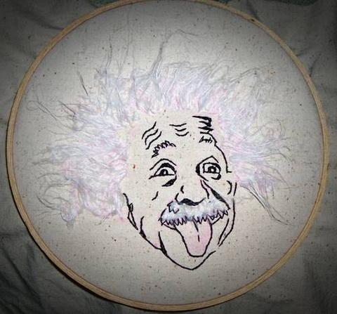 Digital Misfit's Relatively Speaking Albert Einstein hand embroidery