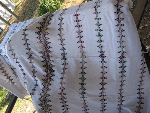 Huck work or Swedish Weaving Embroidered blanket