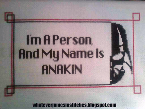 WhateverJames - Anakin, Star Wars cross stitch