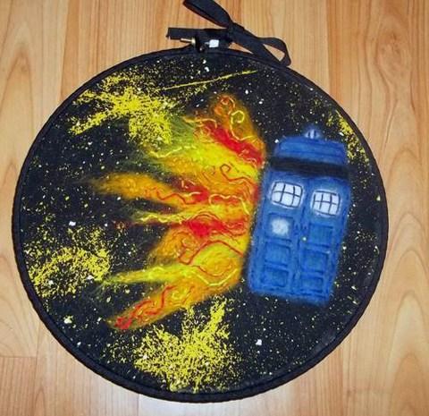Dessadoll's needle felted TARDIS