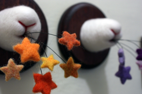 Zoe Williams - Color Spew Stars needle felted art