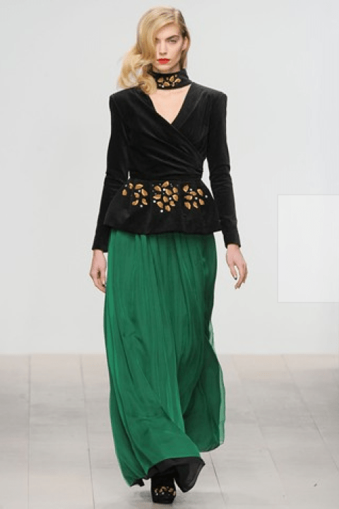 PPQ Emerald Green Dress With Military Gold Work And Swarovski Rondel Embroidery