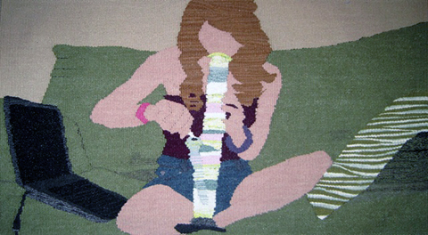 Erin Riley - Webcam tapestry weaving