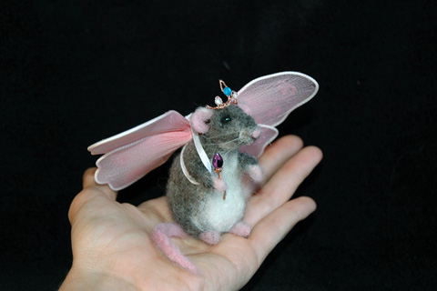 Felted Fairy Princess Rat by Amber Rose Creations