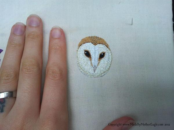 Mother Eagle's Barn Owl hand embroidery