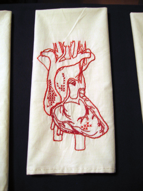 Rachel Harmeyer - Anatomical Heart embroidered tea towel