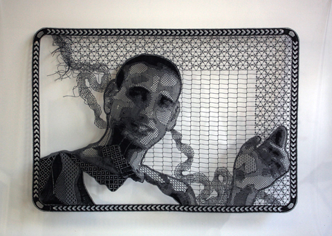 Pierre Fouche - Portrait of Guy Nardy (2009-2012). Bobbin Lace in Polyester Floss