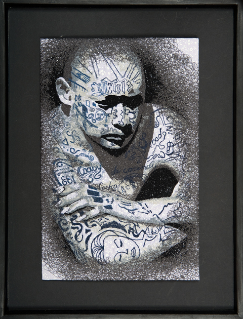 James Fox - Tattoo portrait - freehand machine embroidery