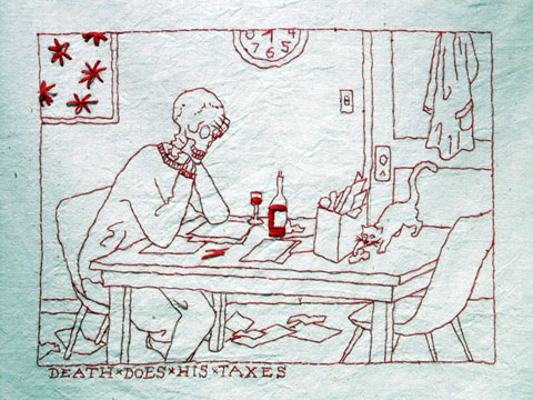 Mary Mazziotti - A Day In The Life of Death - Death Does His Taxes - hand embroidery
