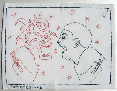 Mary Mazziotti - The Rake's Progress - Tom Goes Mad - hand embroidery