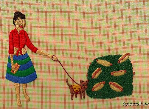 Spider's Paw - Wilma Found a Hotdog Bush - Hand Embroidery
