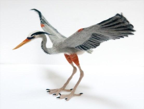 Kiyoshi Mino needle felted Heron
