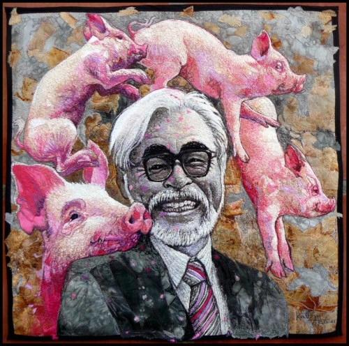 The Pigness in Us All. Fabric and thread. 50cm X 50cm (Not for sale)