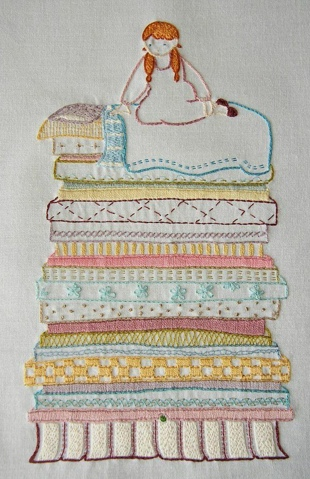 Princess and he Pea, hand embroidery.