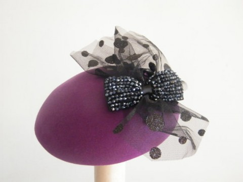 Etsy RanaHats Plum purple fascinator fur felt cocktail hat