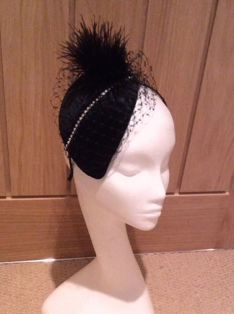 Etsy LittleHatParlour Black Velvet Headpiece with Diamonte Trim