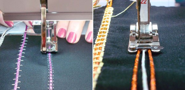 A couching foot holds the thicker thread while you tack it down with stitches.