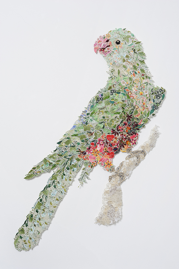 'Queen Billie 2010 – after Sarah Stone 1790' Reclaimed needlework, lace pins, nylon tulle 127 x 95cm