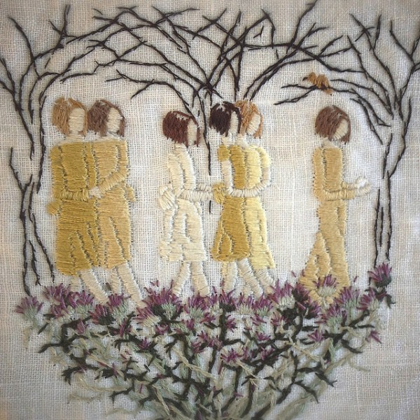 """""""even nightingales cannot live on fairytales,"""" 5 x 5 inch hand embroidery on linen."""