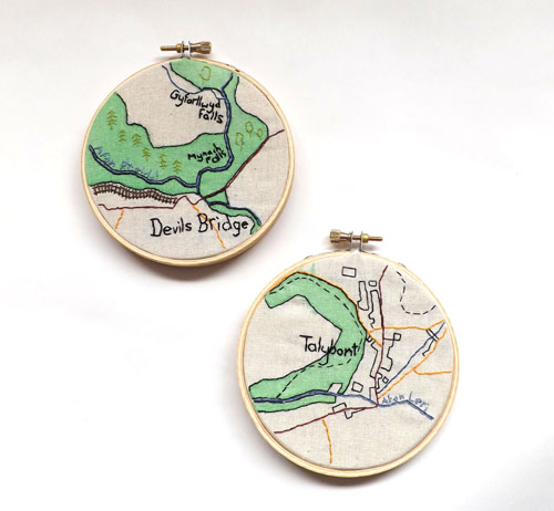 Ceredigion Maps by Alex Hughes (Hand embroidery)