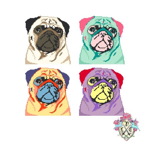 Pop Art Pugs by Lauren Moreno (Cross stitch design)