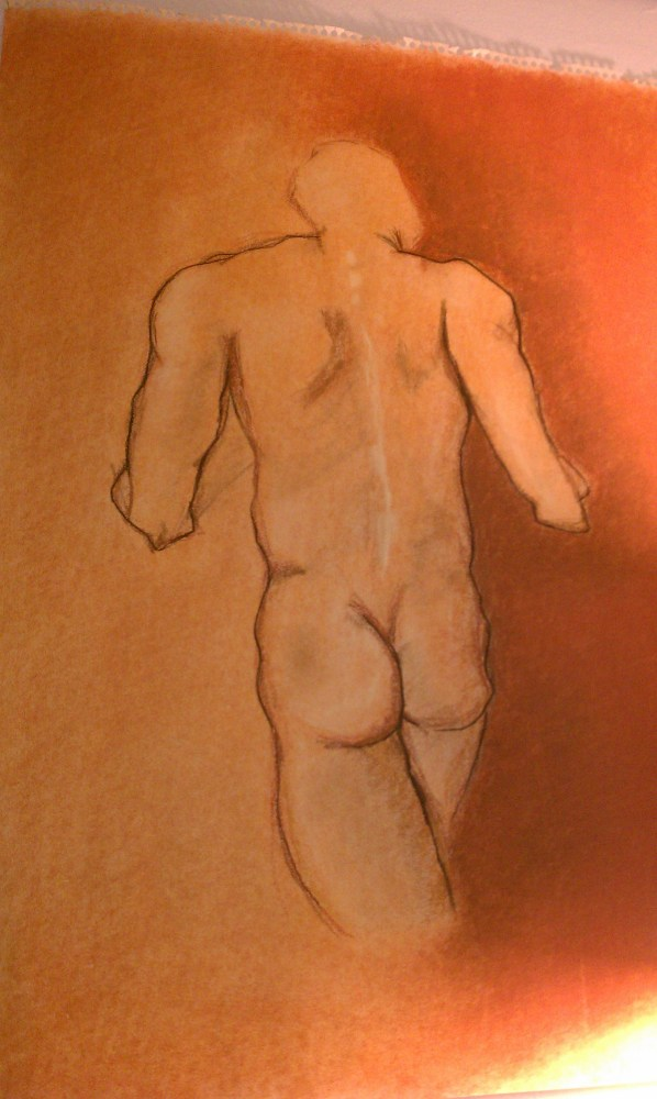 Pastel figure. Drawing by Victoria Crowder Payne.
