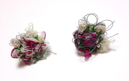Fiber Earrings by Kelly Darke (Hand embroidery)