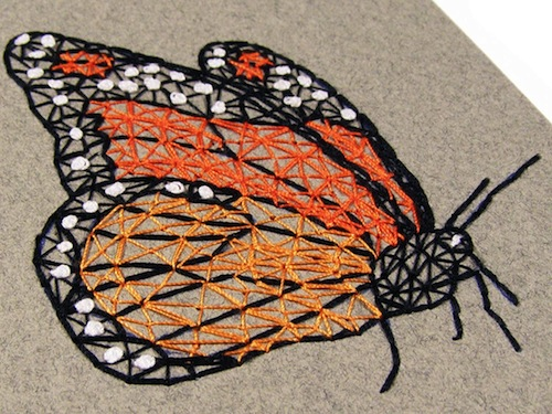 Monarch Butterfly Notepad (detail) by Fabulous Cat Papers (Hand embroidery)