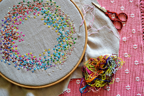Cross stitch circle by Pumora, in progress.