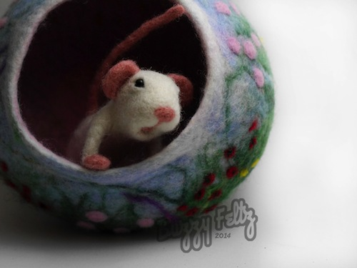 White Mouse and Flower Bowl by Buzzy Feltz (Needle Felt)