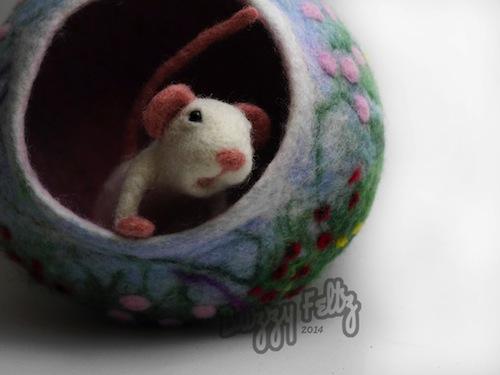 White Mouse and Flower Bowl by Buzzy Feltz (Needle Felt)