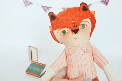 Mask Fox Boy Doll by Mandarinas de Tela (Soft Sculpture)