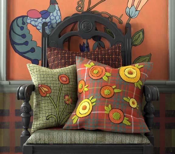 Kristen Nicholas - Plaid Embroidered Pillows